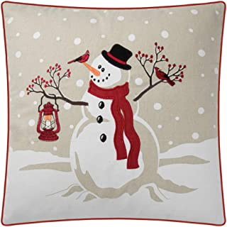 JWH Christmas Accent Pillow Case Snowman Applique Embroidery Cushion Cover Deocrative Sham Home Bed Living Room Shell Festival Gift 18 x 18 Inch