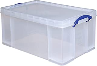 Really Useful Clear Transparent Plastic Storage Box, 64 Liters Features Attached Handles Make It Easy To Carry
