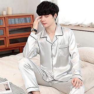 LGLE Mens Silk Satin Pajamas Set Cardigan V-neck Long sleeve Nightwear Loungewear