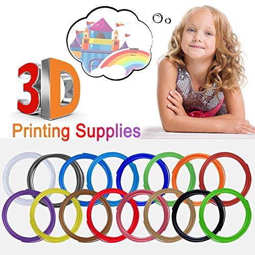 3D Stift Filament, Rusee 16 Farben 5M 3D Pen PLA Filament Ink Filament 1.75mm 3D Print Filament 3D Printing Pen Supplies 3D Stift Farben Set für 3D Stift, 3D Drucker, 3D Pen - 5