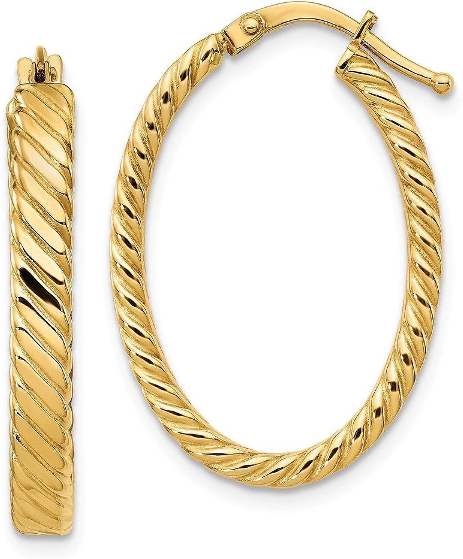 Beautiful Yellow gold 14K Yellowgold 14K Patterned Oval Hoop Earrings
