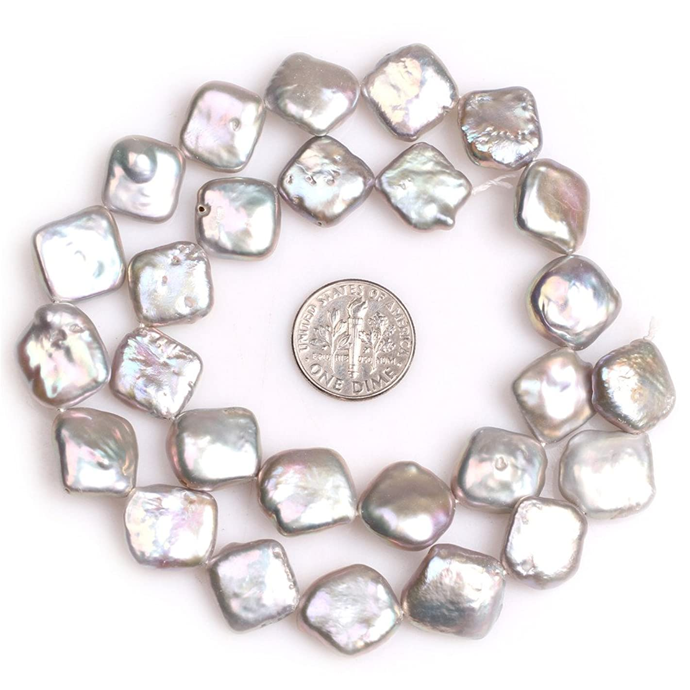 Nuclear Edison Pearl Beads for Jewelry Making Natural Gemstone 14mm Grey Square Rhombus Shape 15
