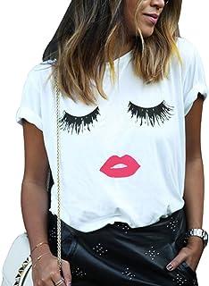 Fashion Womens Summer Casual Tops 3D Print Eyelash Mouth T-Shirt
