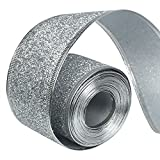 Gardeningwill 33Ft/10Meters Silver Glitter Christmas Ribbon Wreath Present Wedding Arts Crafts Gift Wrapping