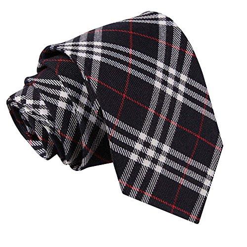 DQT Neu Baumwolle Scottish Schottenkaro Herren Mode Elegante Klassisch 9cm Krawatte Dunkelblau und Weiß mit Rot