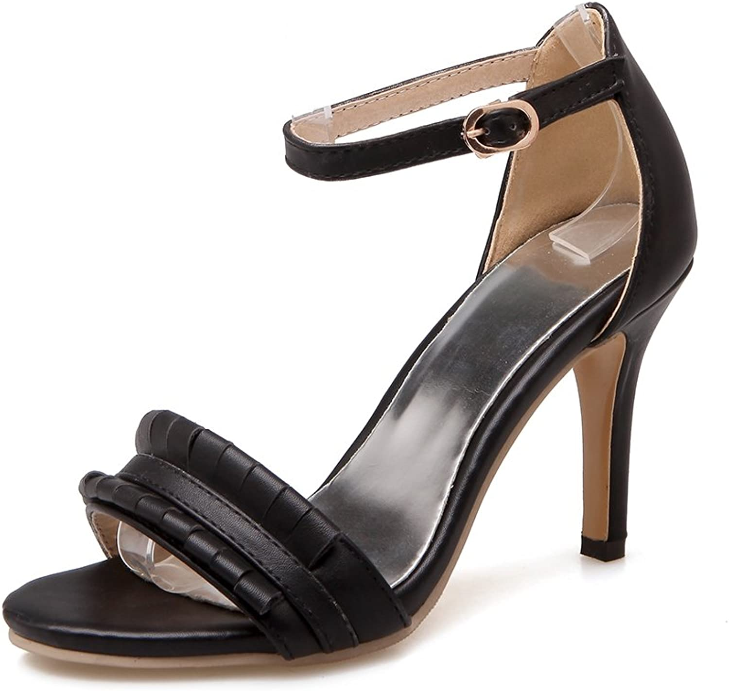 AIWEIYi Women's Retro Style Thin High Heels Buckle Strap Strappy Sandals Black