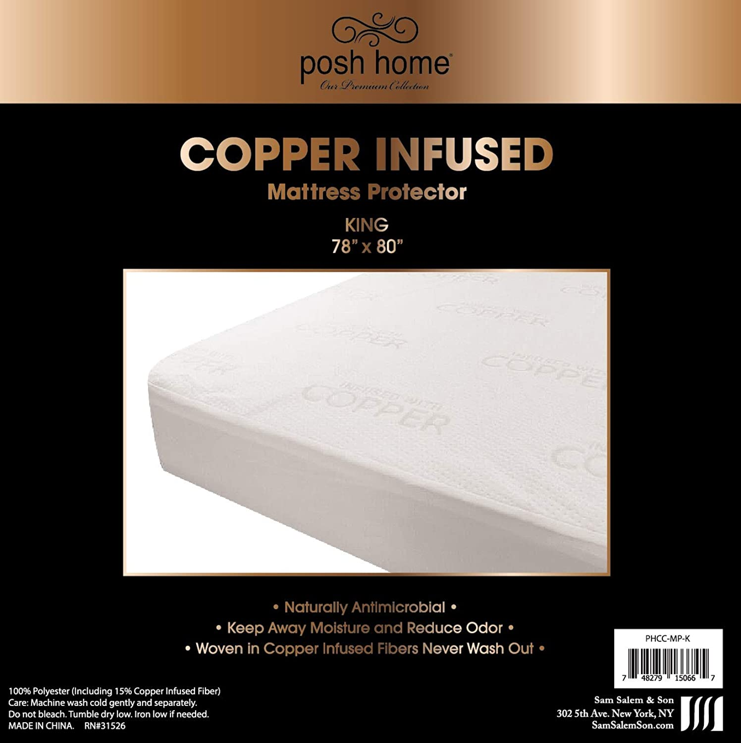 Posh Home Copper Infused Breathable Cool Soft Antibacterial Fresh Mattress Predector King Size, Natural