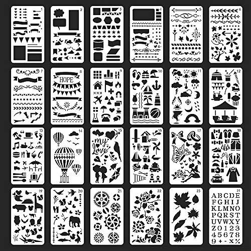 Feelairy Plantillas de Dibujo, 24 pcs Conjuntos de Plantillas de Escala Cuaderno Diario de Balas Dibujo de Plantillas Flores Cartas Números Animales para Álbum de Recortes Libro Regalo de Bricolaje