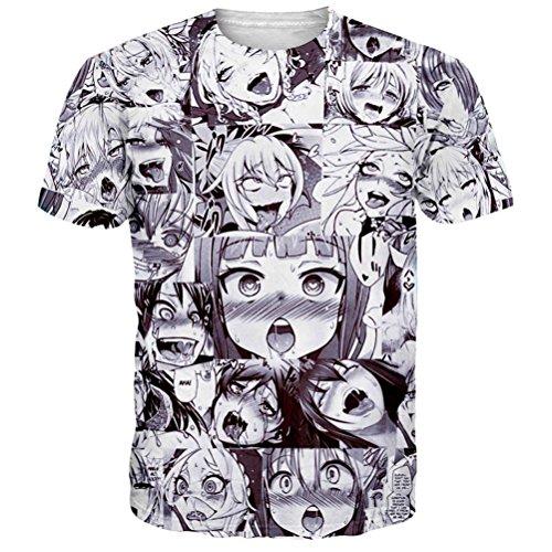Ahegao Anime T Shirt Unisex Casual Grafik T-Shirt 3D Gedruckt Sommer Tops Tees - L