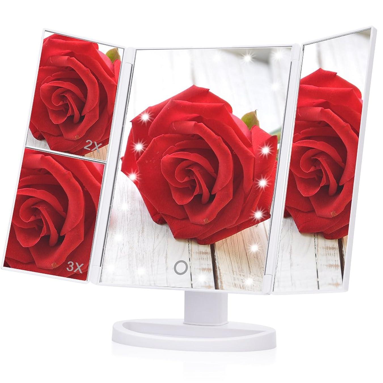 サンプル彫刻肉屋三面鏡,EECOO 女優ミラー 大型 卓上ミラー 化粧鏡 2倍&3倍拡大鏡付き (白)