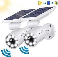 Motion Sensor Solar Lights Outdoor - 800Lumens Spotlight Solar Security Lights IP66 Waterproof, Wireless Solar Flood Light for Porch Garden Patio Driveway Pathway, Aluminum, 2-Pack (White)
