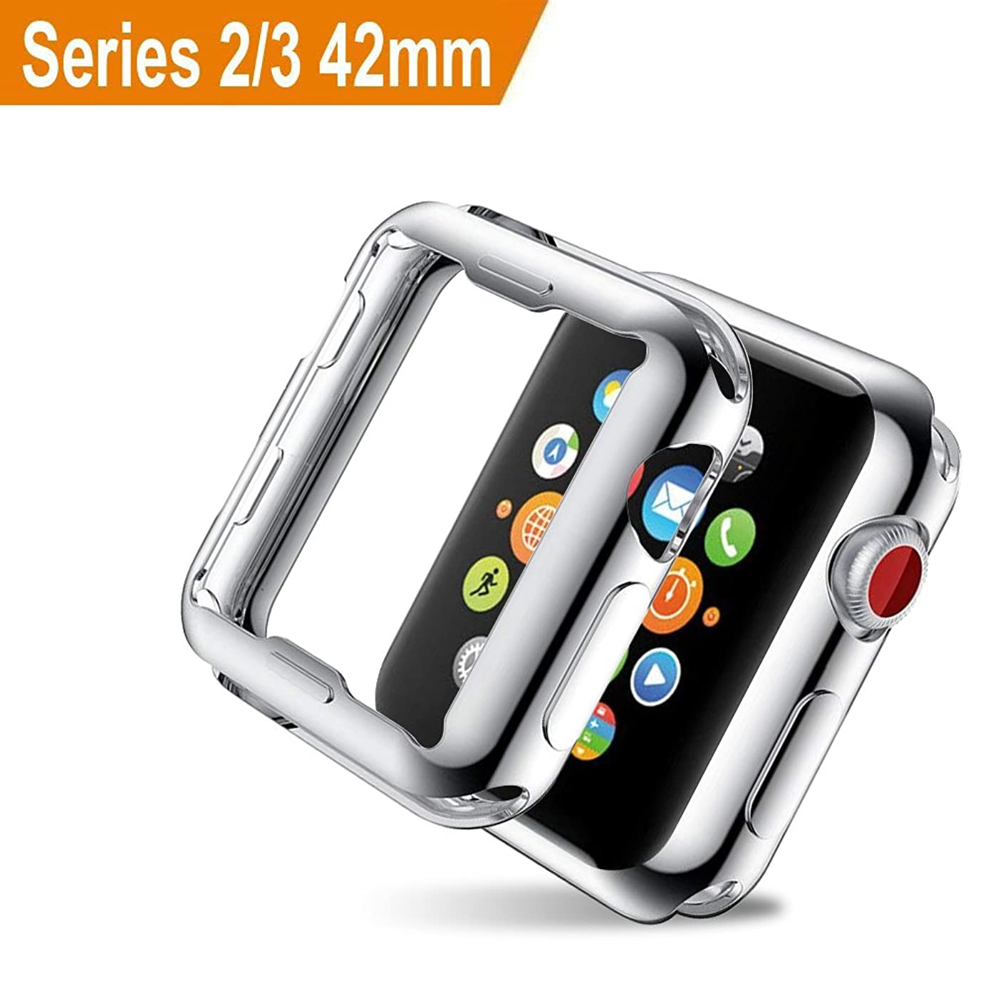 Apple Watch 3 Case 42mm, ZAOX iwatch Buit in Screen Protector Slim Soft TPU Bumper Full Coverage Protective Case HD Clear Ultra-thin Cover for Apple Watch Series 3 and Series 2 (Silver)