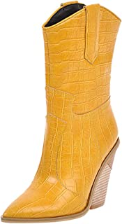 〓COOlCCI〓Womens Western Cowgirl Cowboy Boot,Wedge Heel Cowgirls Booties Mid Calf Combat Pointed Toe Shoes Ankle Boot