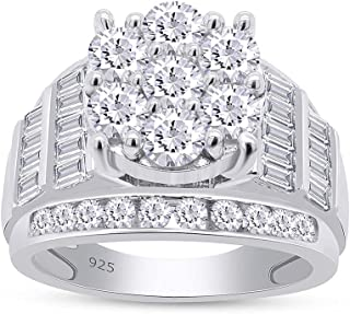 AFFY 7.14 Round And Baguette White Simulated Diamond Cluster Wedding Band Ring For Men In 14k White Gold Plated 925 Sterli...