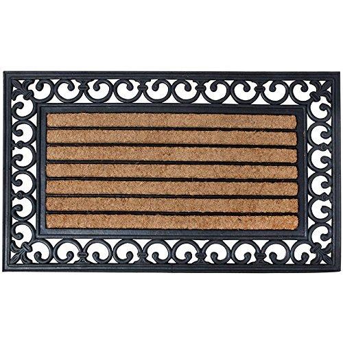 Esschert Design RB108 Türmatte, Kokosfaser, Gummi, schwarz / braun, 75 x 45 x  1.8 cm