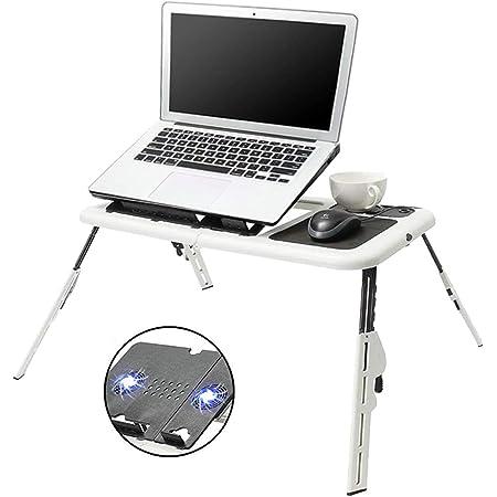 Mesa Laptop, Bastidor de Enfriamiento para Computadora Portátil , Soporte de Aluminio Ajustable Portátil, Doble Ventilador y Tablero para Mouse, Portátil Universal, Adecuado para Sofás, Camas, etc, Diseño Ergonómico