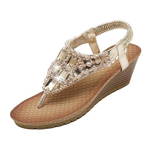 ace0bc4bdc Zicac Women's Round Peep Clip Toe Wedge Heel Rhinestone Elastic T-Strap  Bohemia Roman Sandals