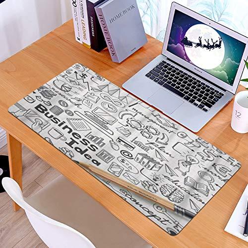 Alfombrilla Ratón Grande Gaming Mouse Idea de Mano Doodles Sketch Dibujado Garabato Dinero Finanzas Negocios,Base de Goma, Portátil, Ordenador
