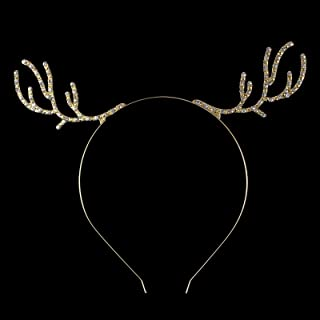 FUMUD Gold Rhinestone Antler Headband, Wire Rudolf Antlers Metal Deer Ears, Christmas Hair Band, Xmas Headband, Photo Prop
