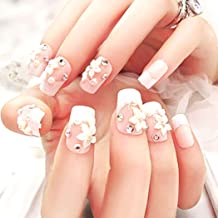 Drecode False Nails Glitter Rhinestone Pearl Flower Full Cover Acrylic Fake Nails Wedding Birthday Party Clip on Nails for Women and Girls