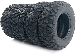 TRIBLE SIX Set of 4 26-9-12 & 26-11-12 ATV UTV Tires, 2 of 26x9-12 Front & 2 of 26x11-12 Rear, 6PR Tubeless Deep Mud