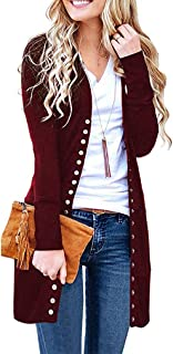 Women's Long Sleeve Snap Button Down Ribbed Neckline Knit Cardigan Sweater Coat