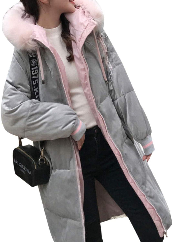 Desolateness Women's Overcoat Winter Down Parka Long Puffer Jacket Faux Fur Hood