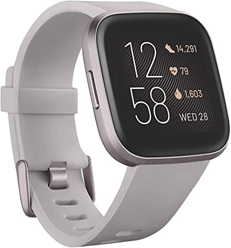 Fitbit Versa 2 Health and Fitness Smartwatch with Heart Rate, Music, Alexa Built-In, Sleep and Swim Tracking, Stone/M...