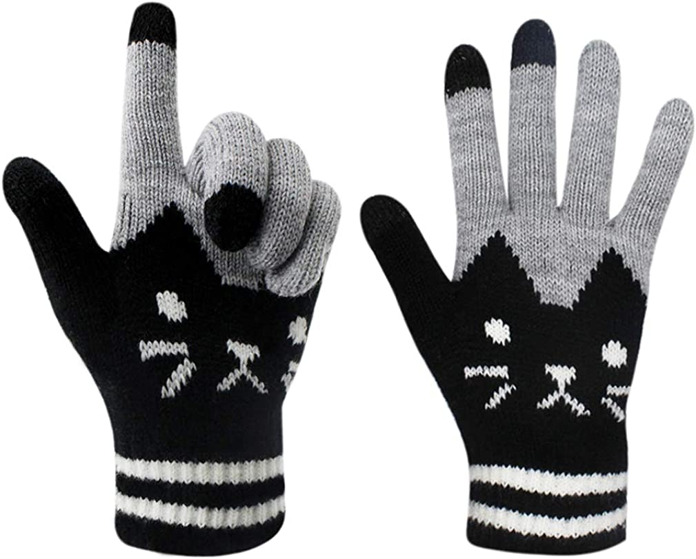 Women Men Winter Touch Screen Gloves Warm Knit Texting Mittens for Smartphone