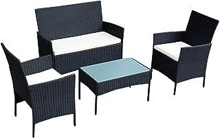 Goplus Rattan Sofa Furniture Set Outdoor Garden Patio 4-Piece Cushioned Seat Wicker (Black)