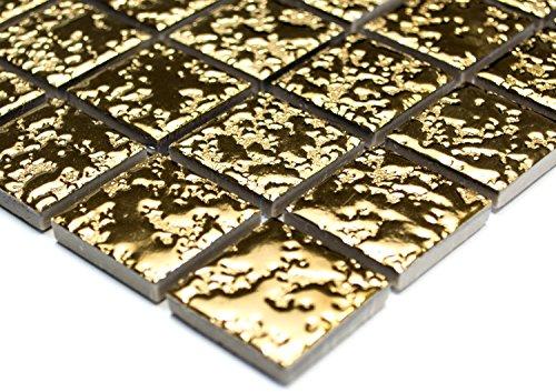Mosaik-Netzwerk Quadrat uni gold gehämmert Keramik Mosaik, Mosaikstein Format: 2,5x2,5x6 mm, Bogengröße: 60 x 100 mm, 1 Handmuster ca. 6x10 cm