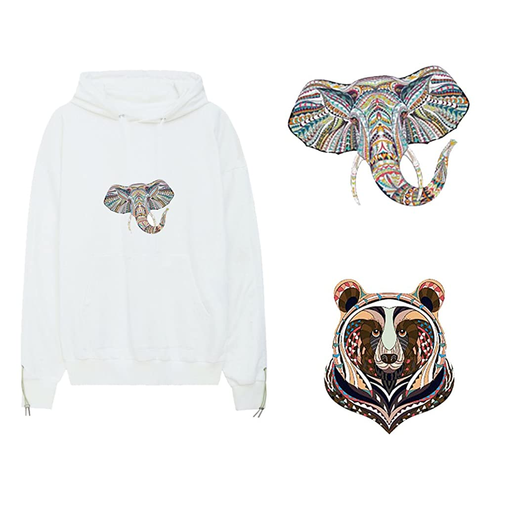 Artem 2pcs Elephant and Bear Iron On Patch Heat Transfer Stickers with Creativity Multicolored Animals Discount Packages Sublimation A-Grade Washable for DIY T-Shirt Clothes