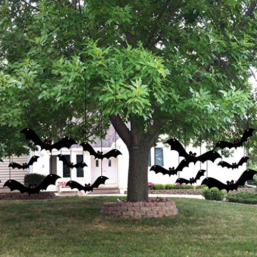 VictoryStore Yard Sign Outdoor Lawn Decorations: Halloween Yard Decorations With Scary Hanging Bats - Set of 12