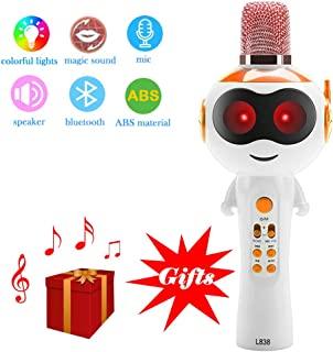 JeKaVis J-M08 Kids Wireless Bluetooth Karaoke Microphone,Portable Speaker Machine Microphone with Magic Sound & Colorful Lights Christmas New Year Party Gift for iPhone/ Android/iPad(Orange)