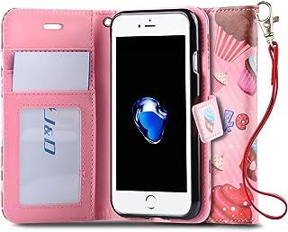 J&D Case Compatible for iPhone 8 Plus/iPhone 7 Plus Case, [Wallet Stand] [Slim Fit] Heavy Duty Shock Resistant Flip Cover ...