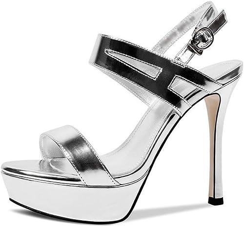 JIANXIN Chaussures D'été Sexy En Cuir Pour Femme Avec Des Talons Hauts Et Des Talons Hauts Avec Des Sandales Romaines à Peep-toe. (Couleur   argent, taille   37)