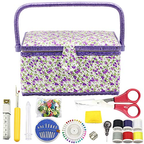 Discover Bargain Flrhsjx Medium Sewing Basket with Accessories Sewing Storage Box with Supplies DIY Sewing Kits for Adults/Kids (Purple)