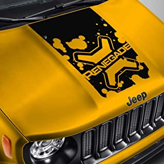 SkunkMonkey - Hood Decal for Jeep Renegade - Lettered Logo Splatter Blackout Hood Sticker - Matte Black