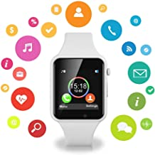 IOQSOF Bluetooth Smart Watch Fitness Tracker, Touch Screen Smart Wrist Smartwatch Support SIM SD Card Slot Make/Answer Phone Camera Pedometer Compatible Android iOS Samsung for Women Men Kids (White)