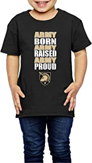 EVALY 2-6 Years Youth Cool Army West Point Born Raised Proud Tshirt Black