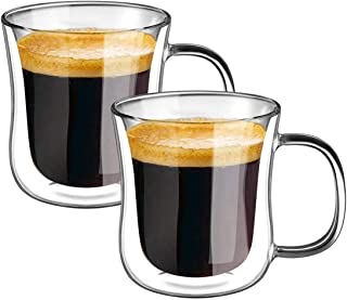 MAKINGTEC Double Wall Coffee Glasses Cups Insulated Cups Transparent Thermo Glass Cup Set Coffee Mugs for Espresso Cappucc...