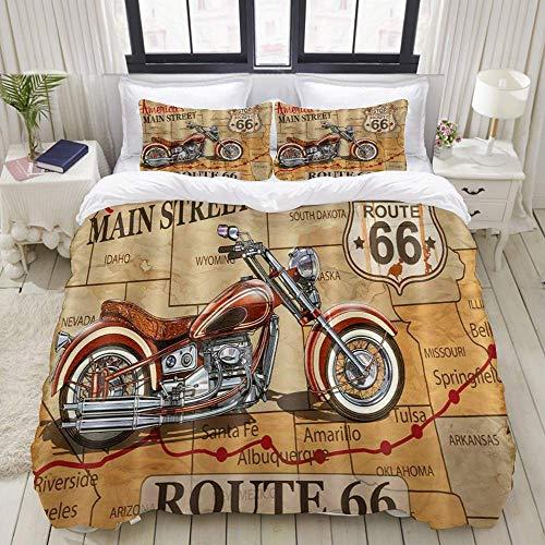 Funda nórdica, póster Vintage de la Motocicleta Route 66, Juego de Ropa de Cama, Juegos de Microfibra de Lujo Ultra cómodos y livianos