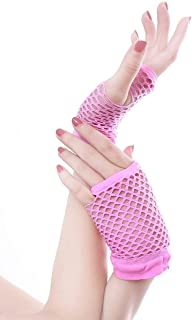SGJFZD Stretchable Fingerless Neon Fishnet Gloves Sexy Gloves (Color : Pink)