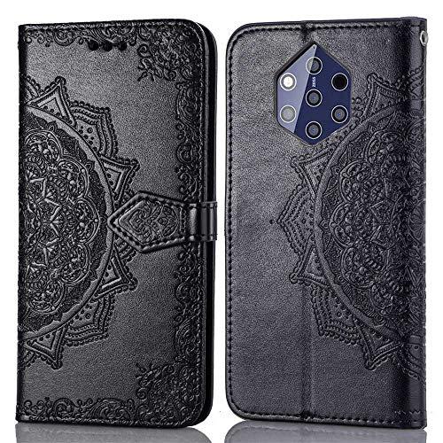 Bear Village Hülle für Nokia 9, PU Lederhülle Handyhülle für Nokia 9, Brieftasche Kratzfestes Magnet Handytasche mit Kartenfach, Schwarz
