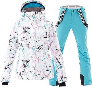 YEEFINE Women's Ski Jacket and Pants Set Colorful Printed Windproof Waterproof Snowsuit Rain Coat