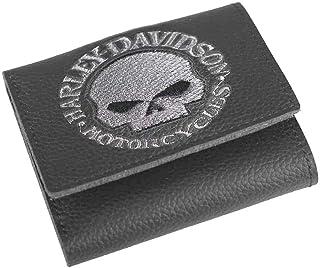 abe91ba5b206 Harley-Davidson Men's Embroidered Willie G Skull Tri-Fold Wallet,  XML6145-GRYBLK