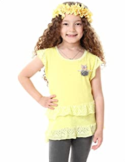 Andora Flutter Cap Sleeves Ruffle-Trim Embroidered Owl Top for Girls