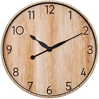 BECANOE 掛け時計 ウォールクロック サイレント 木目調 アラビア数字 簡単 時計