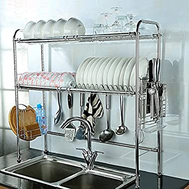 NEX 2-Tier Stainless Steel Dish Rack Nonslip Height Adjustable with Chopstick Holder (Double Groove)