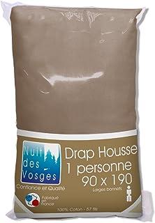 Nuit des Vosges Cotoval Drap Housse Coton Cannelle 90 x 190 cm